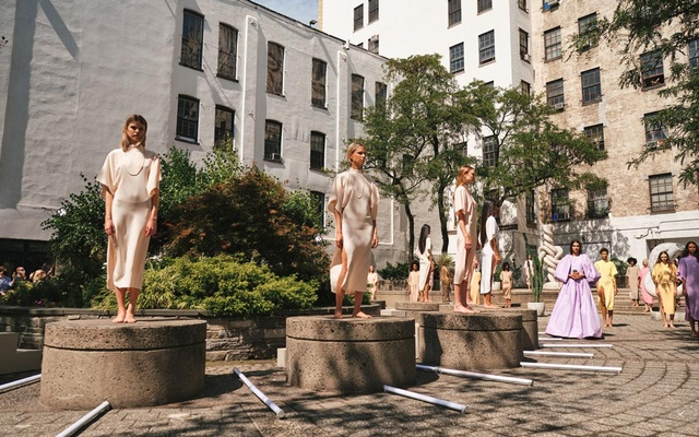 Models present looks at the Rodarte spring 2022 fashion show in New York, Sept 11, 2021. The New York Times