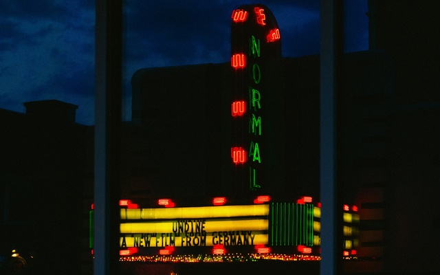 A movie theatre in downtown Normal, Ill. on June 18, 2021. When the Mitsubishi plant closed in 2015, the impact quickly rippled out through the town, squeezing local businesses. The New York Times