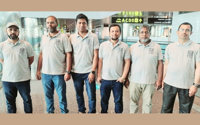 Third from left, Razib Bin Islam with his colleagues.