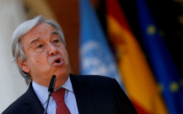 UN Secretary-General Antonio Guterres speaks during a news conference before a meeting with Spain's Prime Minister Pedro Sanchez at Moncloa Palace in Madrid, Spain, July 2, 2021. REUTERS