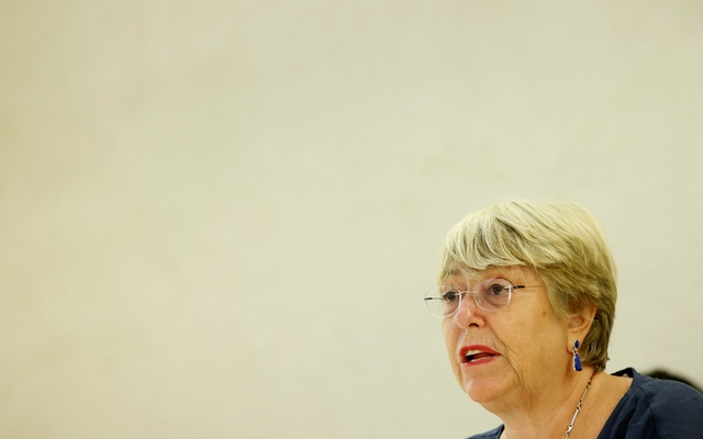 UN High Commissioner for Human Rights Michelle Bachelet attends a session of the Human Rights Council at the United Nations in Geneva, Switzerland, September 13, 2021. REUTERS