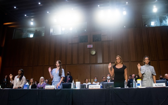 From left: United States Olympic gymnasts Simone Biles, McKayla Maroney, Maggie Nichols and Aly Raisman, are sworn in to testify before the Senate in Washington on Wednesday, Sept 15, 2021, about the the sexual abuse investigation involving Larry Nassar, the former doctor for the USA Gymnastics national team. Nassar, who is serving what amounts to life in prison for sexual misconduct, was able to molest more than 70 girls and women while the FBI failed to act, an inspector general's report said. (Saul Loeb/Pool via The New York Times)