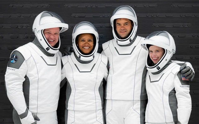 The Inspiration4 crew of Chris Sembroski, Sian Proctor, Jared Isaacman and Hayley Arceneaux pose while suited up for a launch rehearsal in Cape Canaveral, Florida September 12, 2021. Inspiration4/John Kraus/Handout via REUTERS