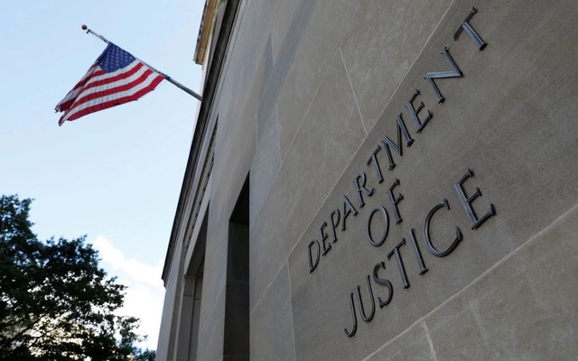 Signage is seen at the United States Department of Justice headquarters in Washington, DC, US, August 29, 2020. REUTERS