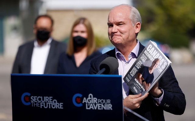 Canada's opposition Conservative party leader Erin O'Toole continues his election campaign tour in Russell, Ontario, Canada Sept 14, 2021. REUTERS
