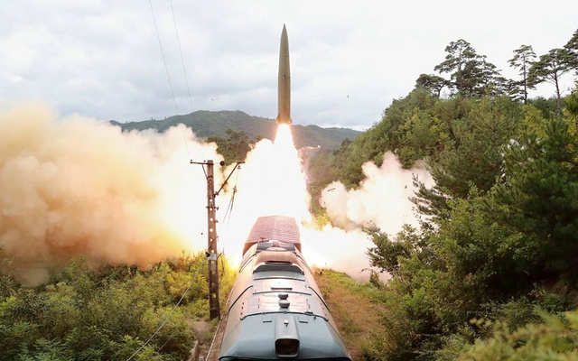 A missile is seen launched during a drill of the Railway Mobile Missile Regiment in North Korea, in this image supplied by North Korea's Korean Central News Agency on September 16, 2021. KCNA via REUTERS