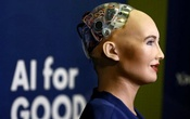 Sophia, a robot integrating the latest technologies and artificial intelligence developed by Hanson Robotics is pictured during a presentation at the
