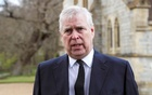 Britain's Prince Andrew speaks to the media during Sunday service at the Royal Chapel of All Saints at Windsor Great Park, Britain following Friday's death of his father Prince Philip at age 99, April 11, 2021. Reuters