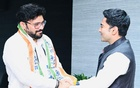Asansol MP from Modi's party Babul Supriyo (on left) greeted by All India Trinamool Congress National General Secretary Abhishek Banerjee (on right), after joining on Saturday, Sept 18, 2021.