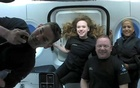 Inspiration4 crew Jared Isaacman, Sian Proctor, Hayley Arceneaux, and Chris Sembroski, seen on their first day in space in this handout photo released on September 17, 2021. SpaceX/Handout via REUTERS