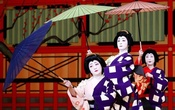 Geishas, traditional Japanese female entertainers, perform their dance during a press preview of the annual Azuma Odori Dance Festival at the Shinbashi Enbujo Theatre in Tokyo, Japan May 23, 2018.
