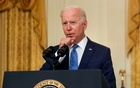 US President Joe Biden clears his throat as he delivers remarks on the economy during a speech in the East Room of the White House in Washington, US, Sept 16, 2021. REUTERS/Leah Millis