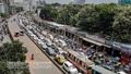 Renovation work has closed a significant portion of Outer Circular Road in Dhaka's Rajarbag to traffic, causing heavy congestion in the area and on nearby roads and thoroughfares, such as the Khilgaon Flyover Bridge on Saturday, September 18, 2021. Photo: Kazi Salahuddin Razu
