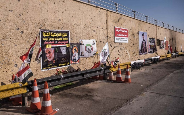 Memorials at Baghdad International Airport, Jan 9, 2020, where Maj Gen Qassim Suleimani, the Iranian military commander, was assassinated in a US drone strike with the help of Israeli intelligence. In November of 2020, Israeli agents assassinated Iranian nuclear scientist Mohsen Fakhrizadeh with a computerised 7.62-mm sniper machine gun capable of firing 600 rounds a minute, kitted out with artificial intelligence, multiple-camera eyes and operated via satellite, that was smuggled into Iran piece by piece and re-assembled. Sergey Ponomarev/The New York Times