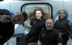 Inspiration4 crew Jared Isaacman, Sian Proctor, Hayley Arceneaux, and Chris Sembroski, seen on their first day in space in this handout photo released on September 17, 2021. SpaceX via REUTERS