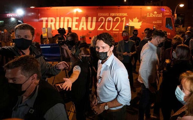 Prime Minister Justin Trudeau at a campaign event on Thursday in Quebec City. Credit...Carlos Osorio/Reuters