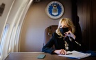 First lady Jill Biden grades papers for her classes at Northern Virginia Community College as she travels to Washington, Sept 15, 2021. The New York Times