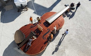 Noah's Violin is prepared for it's introduction on Venice, Italy's Grand Canal at the boatyard where it was built, Sept 17, 2021. The 39-foot-long instrument, built by local artisans, sets a course for Venetian's of hope and creative revival. The New York Times