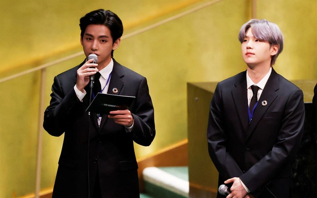 Suga listens as Taehyung/V of South Korean boy band BTS speaks at the SDG Moment event as part of the UN General Assembly 76th session General Debate in UN General Assembly Hall at the United Nations Headquarters, in New York, US, Sept 20, 2021. John Angelillo/Pool via REUTERS