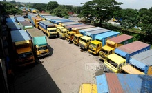 Goods vehicles are parked on Chatttogram Link Road as Truck and Covered Van Owners-Workers Unity Council enforces a strike at the port on Tuesday, Sept 21, 2021. Photo: Suman Babu