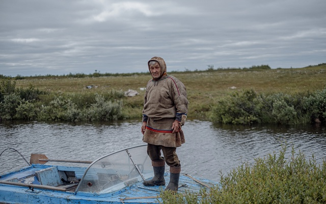 Alexander, a reindeer herder, back from a fishing trip in Yamal Peninsula in northwestern Siberia on July 13, 2021. The New York Times