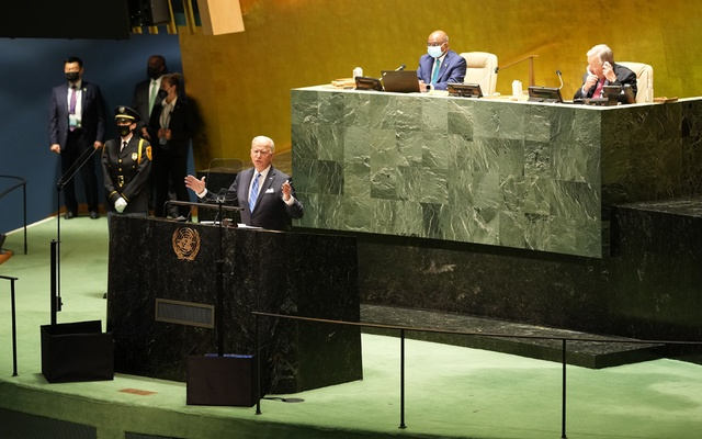 President Joe Biden addresses the 76th Session of the United Nations General Assembly at the UN headquarters in New York on Sept 21, 2021. Doug Mills/The New York Times