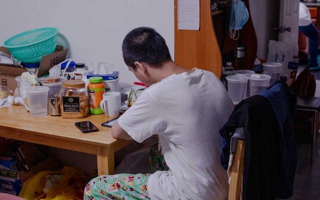 Kyaw Zaw Hein, who was targeted in the New York subway system in an attack that left his mother fatally wounded, studies at the family home in Brooklyn, August 29, 2021. The New York Times