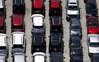 Cars are seen in a parking lot in Palm Springs, California, US on April 13, 2015. REUTERS/Lucy Nicholson