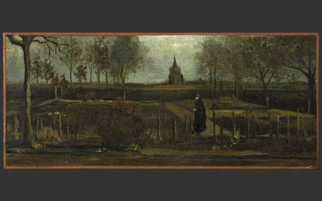 """A provided image shows Vincent van Gogh's """"The Parsonage Garden at Nuenen in Spring."""" Dutch prosecutors said that DNA evidence tied a man to the thefts of a van Gogh and a Frans Hals painting; he denies the charges. Via Groninger Museum via The New York Times"""