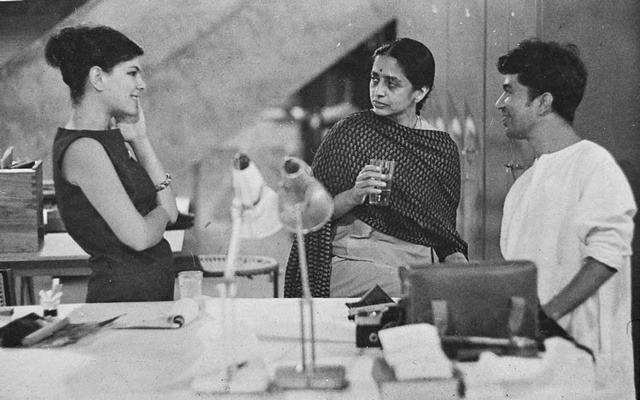 A provided image shows Gira Sarabhai, second from right, in an undated photo with the designer Deborah Sussman and the artist Haku Shah. Sarabhai, an architect, designer, curator and historian who helped establish some of the most important design institutions in postcolonial India, giving her a hand in shaping generations of designers, artists and craftspeople, died on July 15 at her home in Ahmedabad, in the western Indian state of Gujarat. She was 97. National Institute of Design via The New York Times