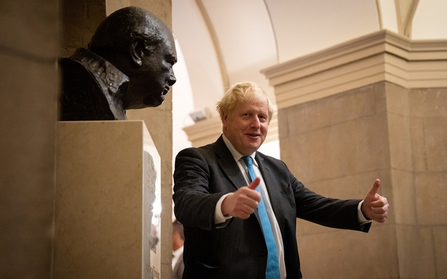 Prime Minister Boris Johnson of the United Kingdom poses near a bust of former British Prime Minister Winston Churchill at the US Capitol in Washington on Wednesday, Sept 22, 2021. The New York Times