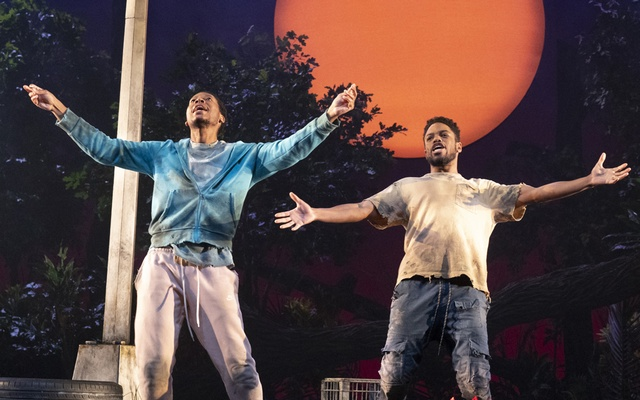 """Namir Smallwood, left, and Jon Michael Hill in the play """"Pass Over,"""" at the August Wilson Theatre in New York, Aug 17, 2021. The New York Times"""