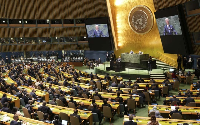 President Joe Biden addresses the United Nations General Assembly in New York, Sept. 21, 2021. President Biden used his speech to say the United States wanted to be a part of cooperative diplomacy to solve global challenges. (Doug Mills/The New York Times)