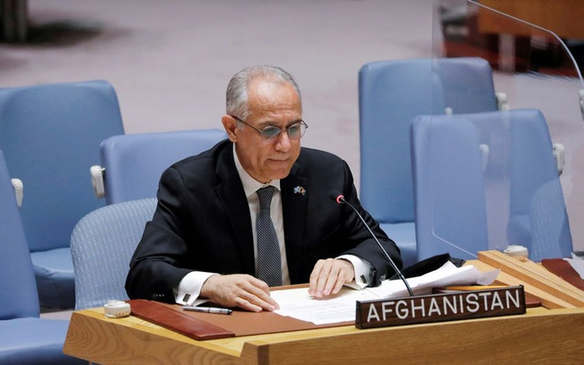 Afghanistan's UN ambassador Ghulam Isaczai addresses the United Nations Security Council regarding the situation in Afghanistan at the United Nations in New York City, New York, US, August 16, 2021. REUTERS/Andrew Kelly