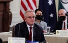 Australia's Prime Minister Scott Morrison is seated with members of his delegation as he participates in a 'Quad nations' meeting at the Leaders' Summit of the Quadrilateral Framework hosted by US President Joe Biden in the East Room at the White House in Washington, US, September 24, 2021. REUTERS/Evelyn Hockstein