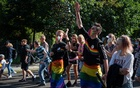Young people at a Christopher Street Day parade in the eastern city of Cottbus, Germany, Sept 4, 2021