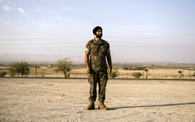First Lt Sukhbir Toor at a Marine Corps training facility in Twentynine Palms, Calif, Sept 24, 2021. The New York Times