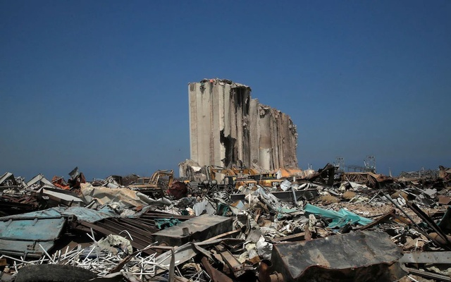 A view shows the damaged site of the massive blast in Beirut's port area, in Beirut, Lebanon Aug 31, 2020. REUTERS