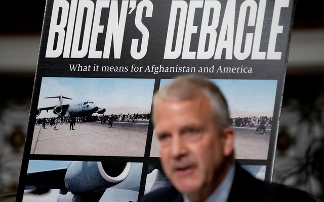 US Senator Dan Sullivan speaks during a Senate Armed Services Committee hearing on the conclusion of military operations in Afghanistan and plans for future counterterrorism operations, on Capitol Hill in Washington, US, September 28, 2021. Reuters