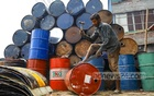 Workers cut metal oil drums for recycling in Old Dhaka's Swarighat. Photo: Kazi Salahuddin Razu