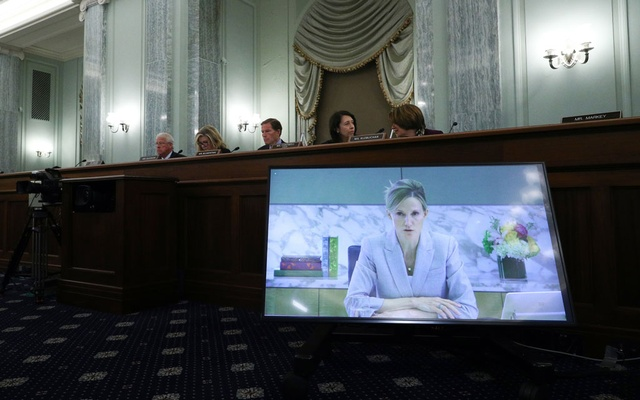 Antigone Davis, Facebook's global head of safety, testifies via video during a Senate subcommittee hearing on Thursday, Sept. 30, 2021. A trove of leaked documents, published by The Wall Street Journal, hints at a company whose best days are behind it. (Tom Brenner/The New York Times)