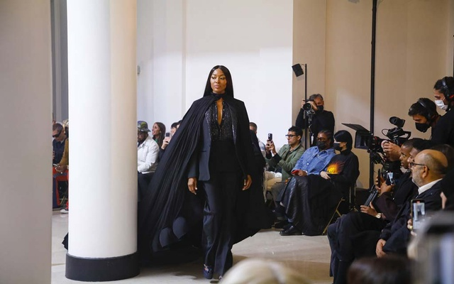 A model presents a look at the Givenchy spring 2022 fashion show in Paris, Oct 3, 2021. The New York Times