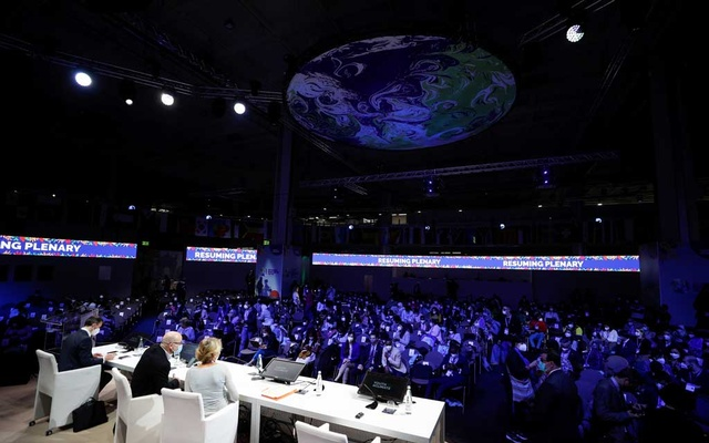 A general view of the opening session during the second day of the Youth4Climate pre-COP26 conference in Milan, Italy September 29, 2021. REUTERS/Guglielmo Mangiapane