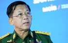 Commander-in-Chief of Myanmar's armed forces, Senior General Min Aung Hlaing delivers his speech at the IX Moscow conference on international security in Moscow, Russia Jun 23, 2021. Alexander Zemlianichenko/ REUTERS
