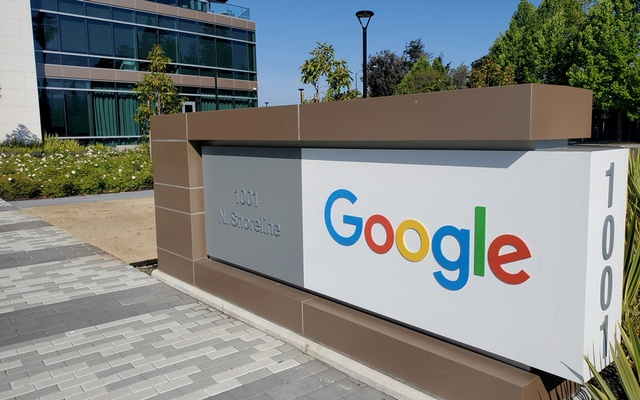 A sign is pictured outside a Google office near the company's headquarters in Mountain View, California, US, May 8, 2019. REUTERS