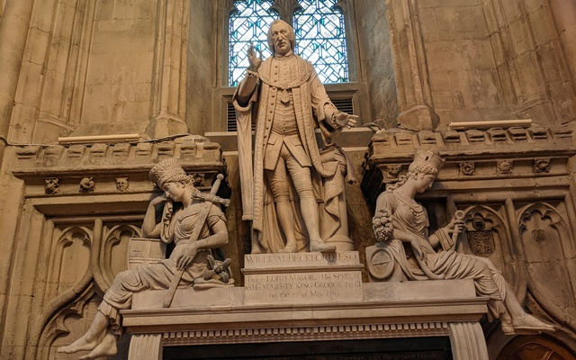 Statue of former twice Lord Mayor of London, William Beckford is seen in the Guildhall, City of London, Britain September 30, 2021. REUTERS