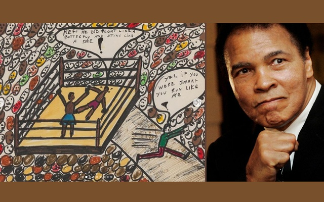 """ketch by Muhammad Ali on the left. Photo taken from an Instagram account called """"bonhamspopularculture."""" Muhammad Ali, on the right. Photo taken from Reuters."""