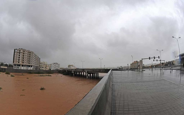 Streets are flooded as Cyclone Shaheen makes landfall in Muscat, Oman, October 3, 2021. Oman News Agency/Handout via REUTERS