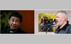 The combination picture shows Rappler CEO and Executive Editor Maria Ressa speaking during an event attended by law students at the University of the Philippines College of Law in Quezon City, Metro Manila, Philippines, Mar 12, 2019 (left), and Russian investigative newspaper Novaya Gazeta's editor-in-chief Dmitry Muratov speaking in Moscow, Russia Oct 7, 2013. REUTERS/Eloisa Lopez (left)/Evgeny Feldman