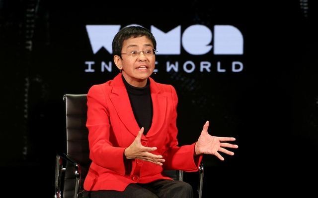 Maria Ressa takes part in the Women In The World Summit in New York City, Apr 10, 2019. REUTERS